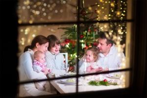 Family at Christmas dinner