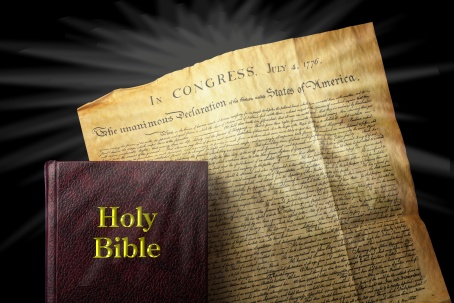 American religious freedom showing Bible and Declaration of Independence.