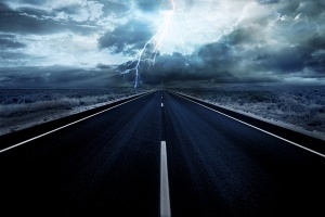 Lightning strike in the darkness