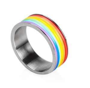 Ring gay rainbow isolated on a white background. Shallow depth of field, focus on the color of the top ring
