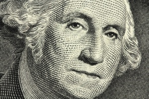 banknote in one American dollar closeup