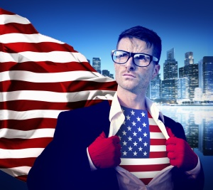 Superhero Businessman Professional Success White Collar American