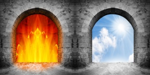 Two ancient gates to heaven and hell. Choice concept.
