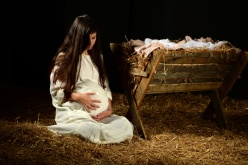 Young Pregnant Mary with Manger