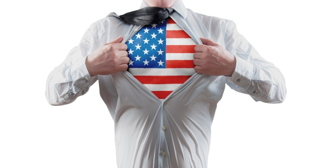 Businessman superhero with the American flag shirt