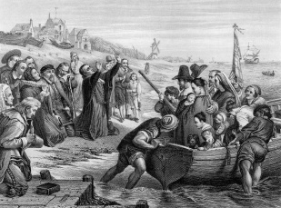An engraved illustration of the Pilgrim Fathers leaving England, from a Victorian book dated 1886 that is no longer in copyrigh