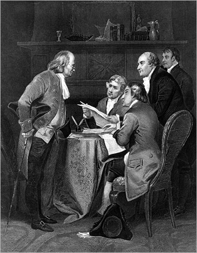 Caption: The committee chosen to draft a declaration of independence for the 13 North American British colonies is shown at work in this 19th century engraving. The five members are, from left, Benjamin Franklin, Thomas Jefferson, John Adams, Philip Livingston and Roger Sherman. On July 1, 1776, the committee submitted their draft to the Continental Congress, which voted on July 2 for final separation, and approved and formally adopted the Declaration of Independence on July 4. (© AP Images)